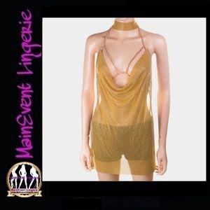 Sexy Gold Choker & Bra Outline Body Chain